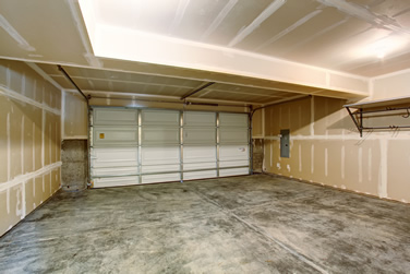 brand new garage built with new garage door