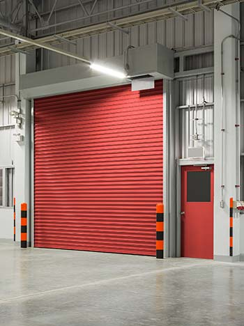 Shutter garage door or rolling door on an industrial warehouse